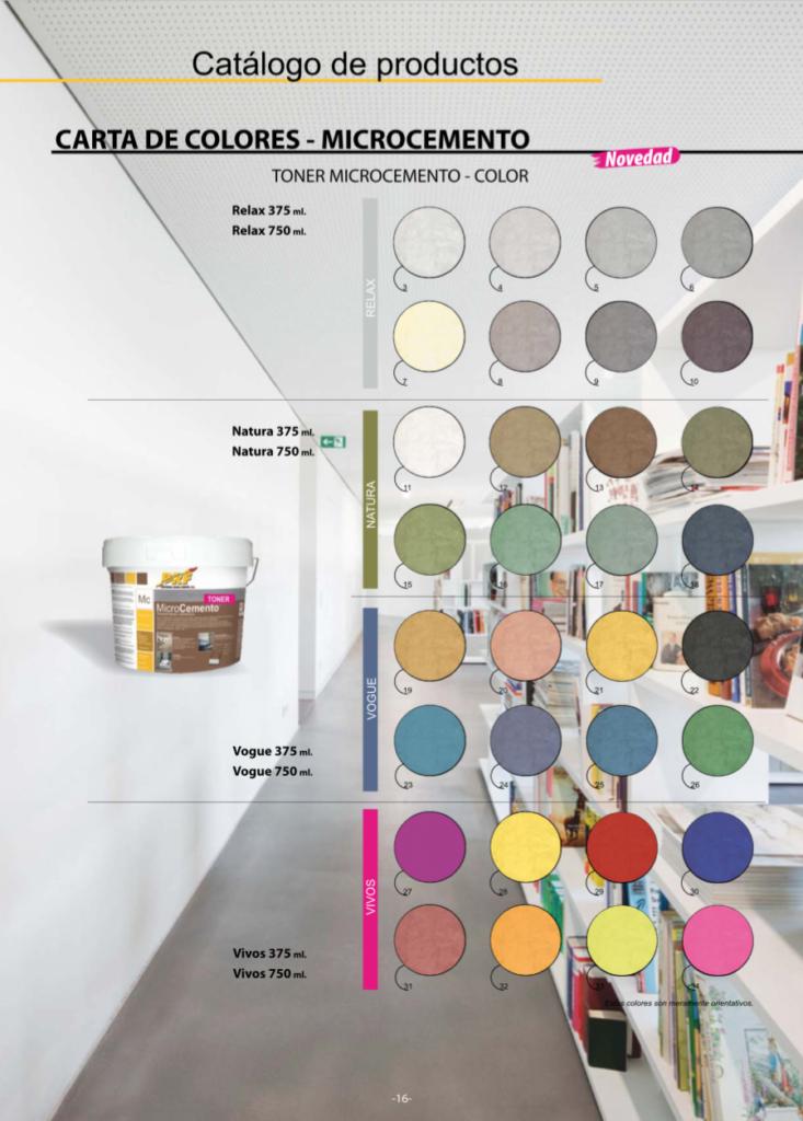 Nuestra carta de colores de microcemento